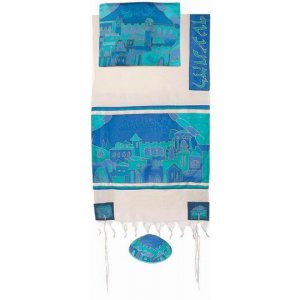 Yair Emanuel Woven Cotton and Hand Painted Tallit Set – Blue Jerusalem Gates