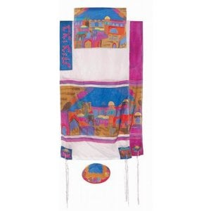 Yair Emanuel Hand Painted Silk Tallit Set, Multicolor - Jerusalem Views
