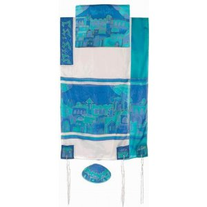Yair Emanuel Hand Painted Silk Tallit Set, Blue - Gates in Jerusalem