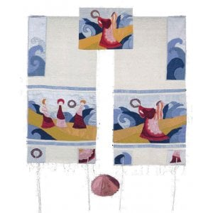 Yair Emanuel Embroidered Raw Silk Tallit Set, Miriam & Tambourines at Red Sea