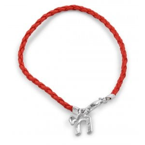 Red Braided Kabbalah Chai Bracelet