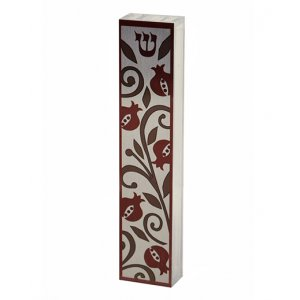 Dorit Judaica Lucite Mezuzah Case Colorful Aluminum Print – Red Pomegranates