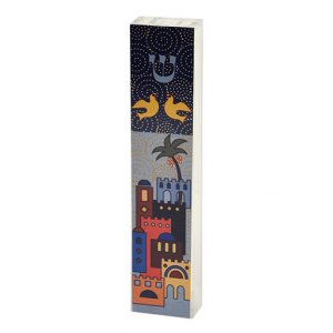 Dorit Judaica Lucite Mezuzah Case Colorful Aluminum Print - Jerusalem and Doves