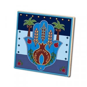 24 in pack Dorit Judaica Blue Aluminum Magnet Seven Species - Hamsa