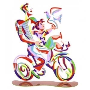 David Gerstein Free Standing Double Sided Bicycle Sculpture - Weekend Ride