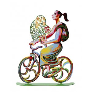 David Gerstein Free Standing Double Sided Bicycle Sculpture - Rider with Flowers