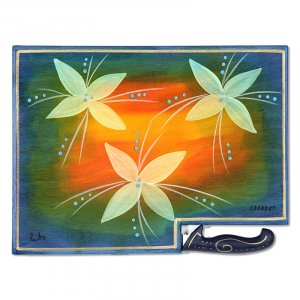 Flowers On Fire Challah Board by Kakadu