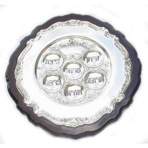 Wooden Silver Plated Passover Plate