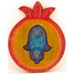 Pomegranate Cutting Board - Hamsa by Kakadu Art