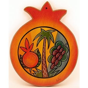 Kakadu Hand Painted Pomegranate Wood Cutting Board - Seven Species
