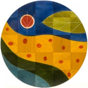 Round Floor Mat Yellow Path by Kakadu Art