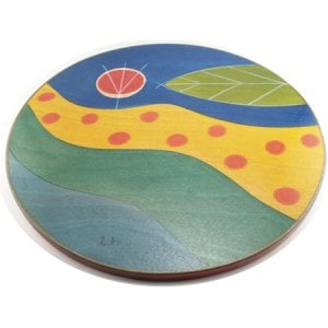 Handcrafted Wood Lazy Susan - Stream of Life Design by Kakadu
