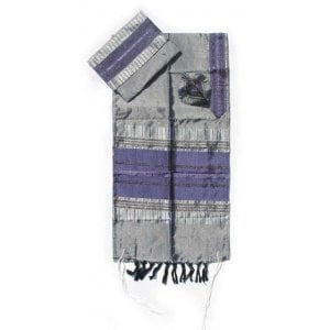 Gabrieli Handwoven Silk Tallit Set - Purple and Silver Stripes