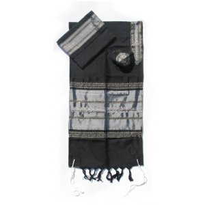 Gabrieli Handwoven Black Silk Tallit Set - Silver Stripes