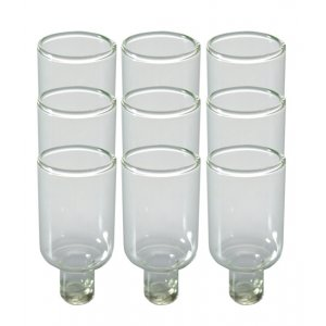 Set of Nine Glass Inserts for Oil Lighting Menorah, Small - Total Height 2""