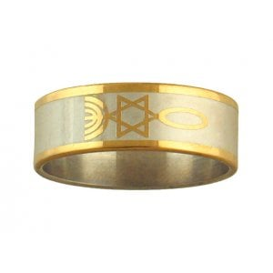 Stainless Steel Two Tone Fish Ring