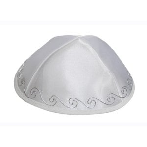 White Terylene Kippah With Floral Edging