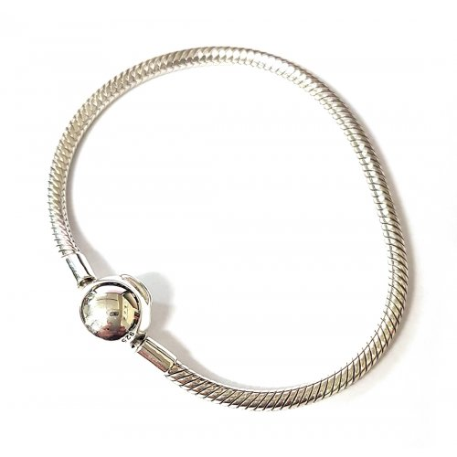 925 Sterling Silver Bracelet for Charms with round clasp