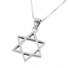AJDesign Classic Sterling Silver Star of David Pendant with Chain