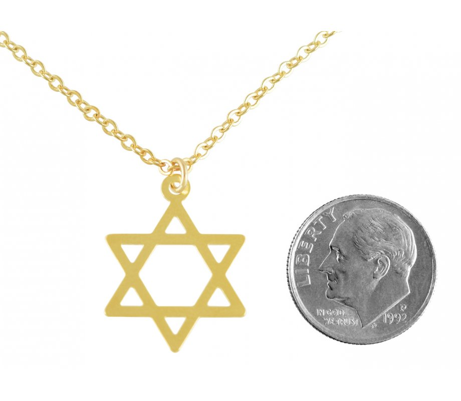 AJDesign Classic Thin GoldFilled Star of David Pendant with Chain