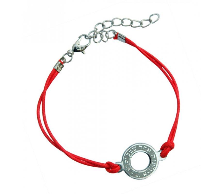 AJDesign Round Shema prayer on red cord bracelet