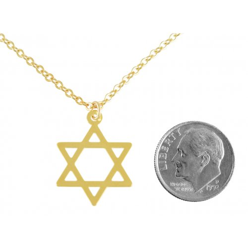 AJDesign Thin Classic 14k Gold-Plated Star of David Pendant with Chain