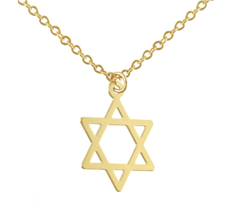0c67fafdd1166 AJDesign Thin Classic 14k Gold-Plated Star of David Pendant with Chain