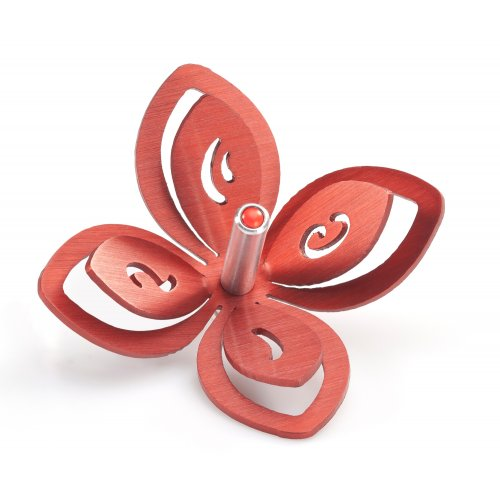 Adi Sidler Anodized Aluminum Chanukah Dreidel Flower Design - Red