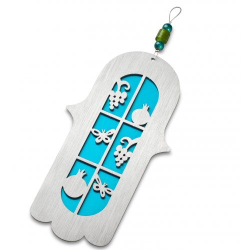 Adi Sidler Anodized Aluminum Vine Hamsa with Four Species - Turquoise