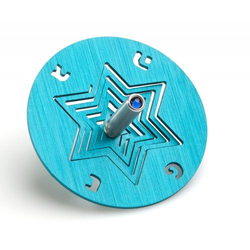 Adi Sidler Chanukah Dreidel and Stand, Star of David - Turquoise
