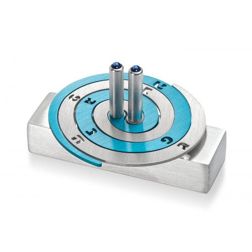 Adi Sidler Double Spiral Chanukah Dreidel Brushed Aluminum - Turquoise and Silver