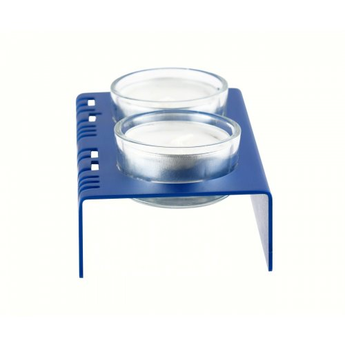 Adi Sidler Shabbat Shalom Candlesticks, Table Design - Blue