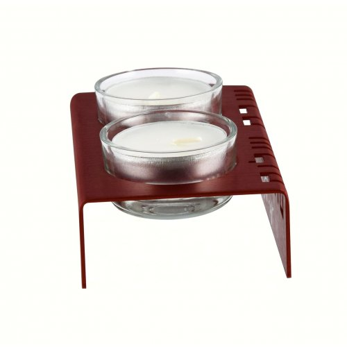 Adi Sidler Shabbat Shalom Candlesticks, Table Design - Red