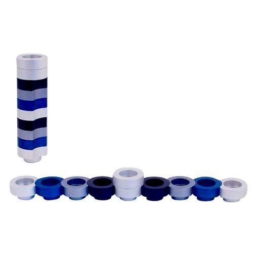 Agayof Compact Doughnut Travelling Menorah - Blue, Silver and Black Colors