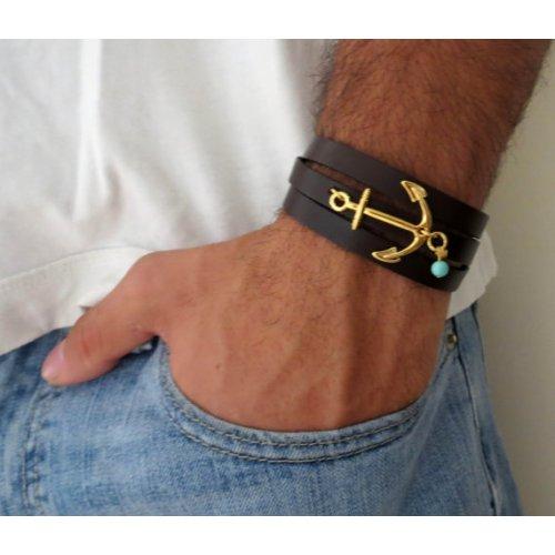 Anchor Triple Wrap Leather Bracelet For Men