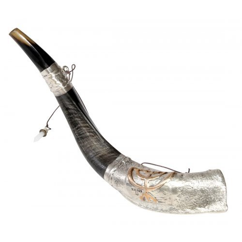 Anointing Sterling Silver Yemenite Shofar - Menorah