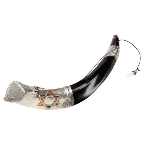 Anointing Sterling Silver Yemenite Shofar - Star of David