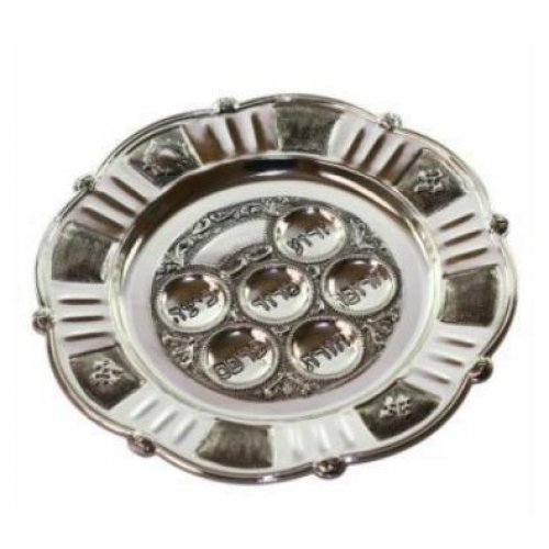Antique Style Silver Plated Round Passover Plate