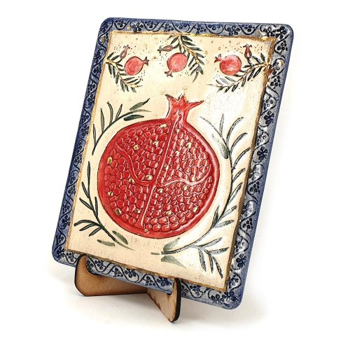 Art in Clay Handcrafted Ceramic 24K Gold Decorated Plaque - Pomegranates