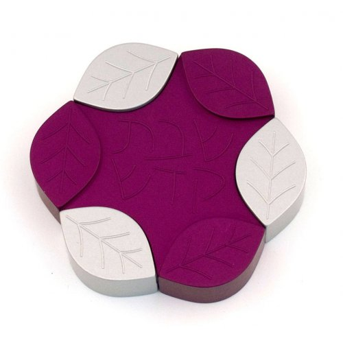 Avner Agayof Anodized Aluminum Travel Candle Holders, Leaf Collection - Purple