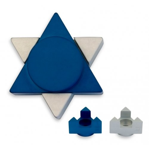 Avner Agayof Anodized Aluminum Travel Shabbat Candlesticks, Star of David - Blue