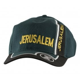 13bd69837a0f8 Baseball Cap with Jerusalem and Menorah Design - Green