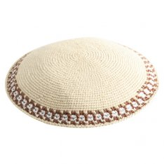 Beige DMC Knitted Kippah with Thin Border Design
