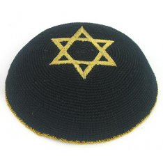 Black & Gold Star of David knitted kippah