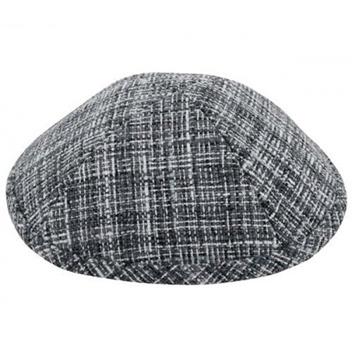 Black Gray and White Design Fabric Kippah Yarmulke