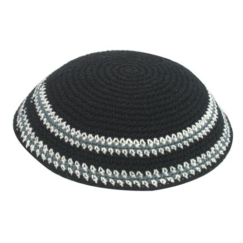Black Knitted Kippah with Gray and White Border Stripes
