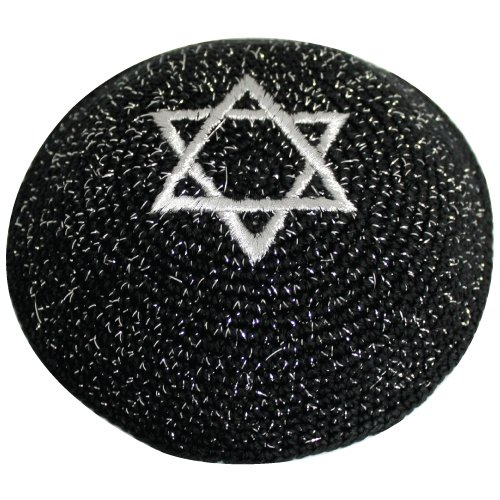 Black Knitted Kippah with Silver Star of David