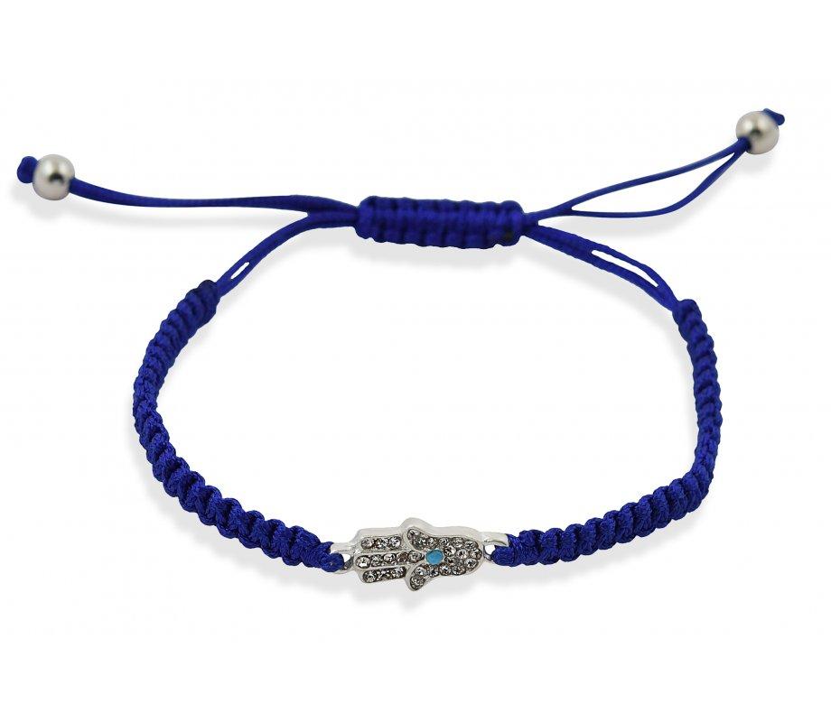 Blue Braided String Hamsa Kabbalah Bracelet