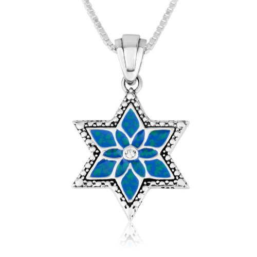 Blue Enamel and Zircon Sterling Silver Star of David Pendant