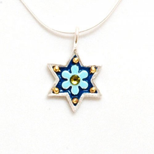 Blue Flower Star of David Pendant - Shahaf